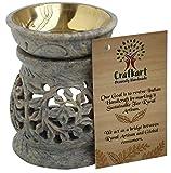 Floral Oil Warmer Burner | Decorative 4 Inches Oil Warmer Tealight Holder | Natural Stone Tea Light...