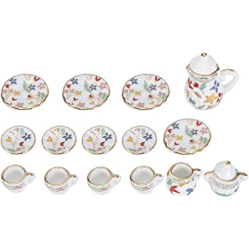 5 stücke 1:12 puppenhaus Miniaturen Weiß Porzellan Teller Platte Küche