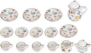 1:12 Accesorio para casa de muñecas, 15pcs Mini Taza de té de Flores de Porcelana Juego de casa de muñecas Decoración Miniatura de Muebles de simulación de Cocina para niños (Tye 3)
