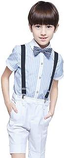 topmodelss キッズ 子供スーツ 半袖 男の子 フォーマル チェック柄 サスペンダー付き 洋服 紳士服 発表会 4点セット