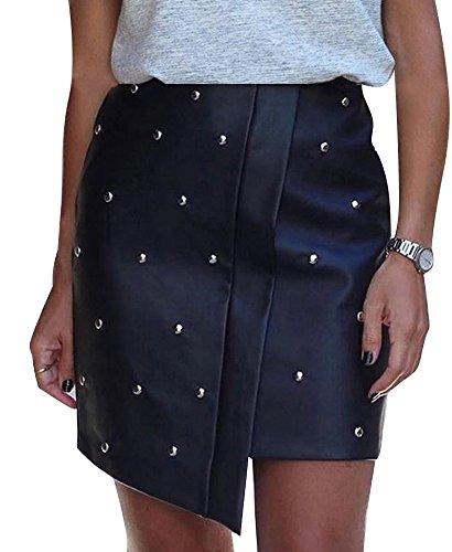 Minetom Las Mujeres Remaches Falda Plisada Uniforme Cordón Cuero Moda Minifalda Cuero Con Cremallera Color SóLido Para Niña Verano Oficina Negro ES 38 (Ropa)