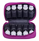 Premium Essential Oil Carrying Case Holds 10 Bottles Size 5ML, 10ML, 15ML Fit Purse For Travel Multiple Colors With Mesh Protection (Pink)