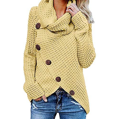 iHENGH Damen Herbst Winter Übergangs Warm Bequem Slim Mantel Lässig Stilvoll Frauen Langarm Solid Sweatshirt Pullover Tops Bluse Shirt (Gelb, S)