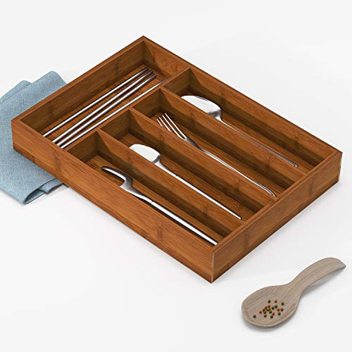BAMEOS Drawer Organizer Bamboo Silverware Holder Cutlery Tray Flatware and Utensil Organizer for Knife Spoon Tool Kitchen Garage
