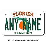 TEAMLOGO Personalized Florida License Plate - Sizes for Kid's Bikes, Cars, Trucks, Cart, Key Rings Version 1 (2 x 4 Aluminum License Plate)