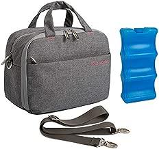 Lekebaby Breast Milk Cooler Bag with Contoured Ice Pack Fits 6 Breastmilk Baby Bottles Cooler Tote Bag for Nursing Mothers, Grey
