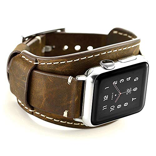 Coobes Compatible with Apple Watch Band 44mm 42mm Men Women Genuine Leather Compatible iWatch Bracelet Wristband Crazy Horse Cuff Strap Compatible Apple Watch Series 6/5/4/3/2/1 SE(Coffe, 44/42 mm)
