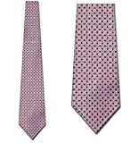 Pink with Silver and Black Square Design Woven Mens NeckTies Man Fashion Tie by Uomo Venetto
