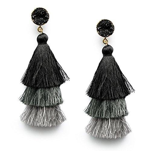 Me&Hz Black Grey Tiered Statement Tassel Druzy Studs Earrings Layered Elegant Earrings Jewelry for Women