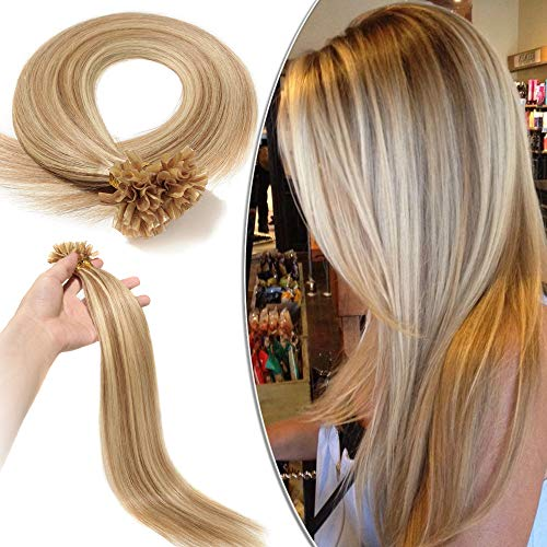 Extension Capelli Veri Cheratina 100 Ciocche Meches - 40cm #12/#613 Marrone Chiaro/Biondo Chiarissimo - 100% Remy Human Hair Pre Bonded U Tip Nail Hair 0.5g/fascia