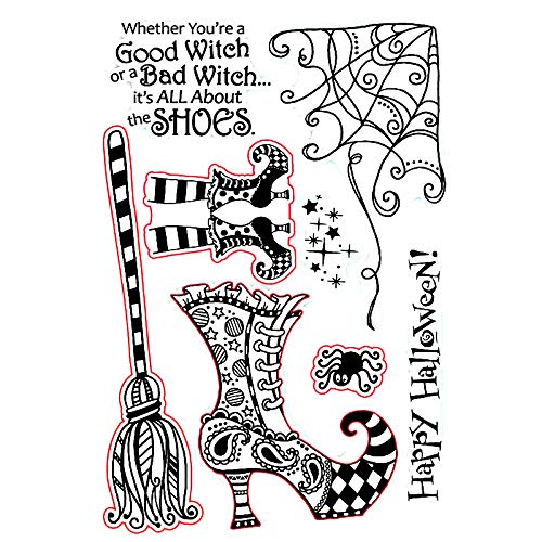 Halloween Witches Shoes Metal Cutting Dies Stamps Set for Card Making Scrapbooking Paper Cards Making Crafts Metal Die-cuts Template Embossing Handmade Crafts Clear Rubber Stamps Photo Album Decor