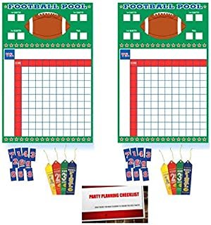 (2 Pack) Football Super Bowl Sunday NFL College Office Pool Frenzy Monday Game Night Sheet with Ribbons (Plus Party Planning Checklist by Mikes Super Store)