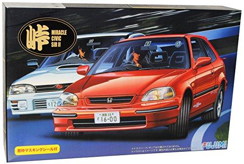 Fujimi Hon-da Civic SI II EK-9 3 Türer Rot 6. Generation 1995-2000 Kit Bausatz 1/24 Modell Auto mit individiuellem Wunschkennzeichen