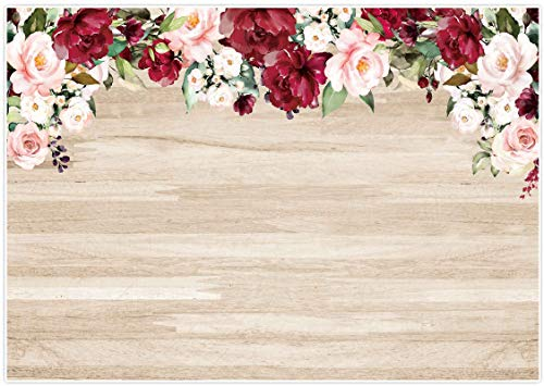 Allenjoy 8x6ft Rustic Wood Red Flowers Backdrop Watercolor Floral Wooden Board Background for Bridal Shower Wedding Photography Baby Kids Birthday Party Banner Photo Booth Props