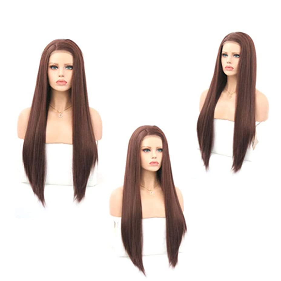 洪水フラスコ申し立てZXF 茶色の女性のフロントレースの化学繊維かつらヘッドギア高温シルク半手の長いストレートの髪にフック 美しい