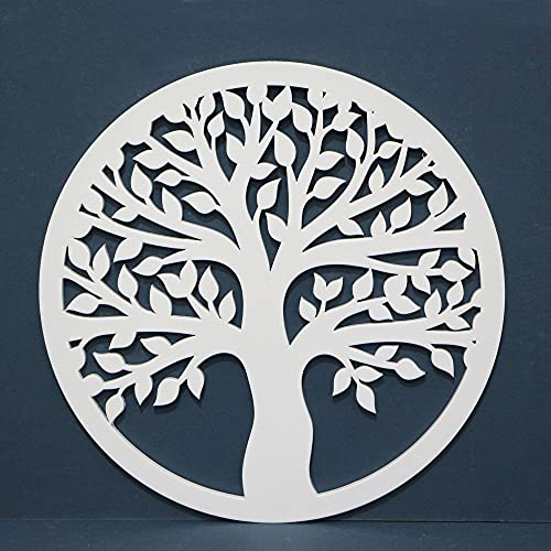 Cuadro Árbol de la vida Calado de Pared -Fabricado en Madera Artesanalmente en España - Cuadro Decoración para Salón, Dormitorio, Baño (57 BLANCO, 60x60 cm)