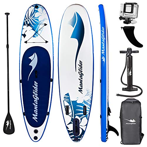 MantaGlider Manta Glider 11' Foot Inflatable Stand Up Paddle Board (6 Inches Thick, 32 inches Wide) ISUP, Hand Pump and 3 Piece Paddle, Travel Backpack and Accessories