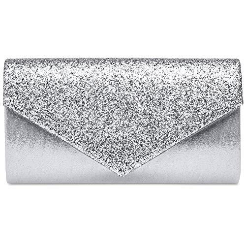 Caspar TA517 Damen kleine elegante Glitzer Clutch Tasche Abendtasche, Farbe:silber, Größe:Einheitsgröße