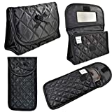 Quilted Cosmetic Bag with a Mirror & Soft Eyeglass Case Essential Duo Set in Black by Marisa D'Amico