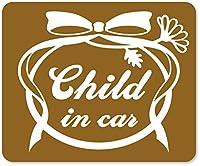 imoninn CHILD in car ステッカー 【マグネットタイプ】 No.29 お花リボン (ゴールドメタリック)