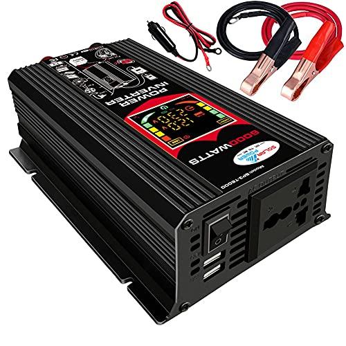 Iriisy Inverter 12v 220v Inverter per Auto 6000W Invertitore di Potenza con 2 Porte USB 2.1A per Automobile, Battello a...