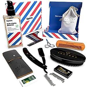 Kit barba hombre DELUXE - Sapiens - Aceite para barba fabricado en Francia 50ml 100% Natural + Navaja de Afeitar Barbero + 5 Accesorios para mantenimiento y afeitado - Regalo Cuidado Barba Hombre