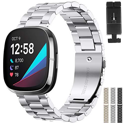 XIMU Correas Compatibles con Fitbit Sense/Versa 3, Correa de Metal de Acero Inoxidable Ajustable para Reloj de Pulsera para Mujeres y Hombres