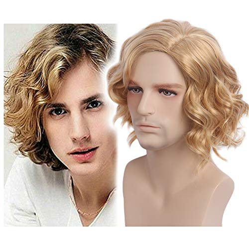 STfantasy Braun Short Man Perücke Layered Wave Perücken für Männer Cosplay Kostüm Party Anime Men Wigs (blond)