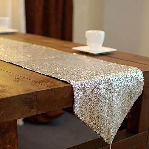 Sparkly zilveren pailletten tafelloper voor bruiloftspartij 14'Sparkly zilveren pailletten tafelloper voor bruiloftspartij