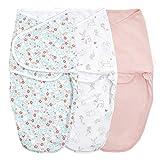aden + anais essentials Easy Swaddle - Saco de Dormir para recién Nacido, 1 TOG, Flores de Cuento de Hadas, 0-3 Meses, 3 Unidades