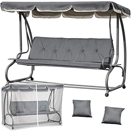 Campela Hollywoodschaukel 3-Sitzer Gartenschaukel Liegefunktion CA0031GREY Schutzhülle Sonnendach Sitzpolster Hollywoodschaukel mit Liegefunktion