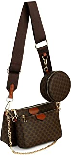 Risup Small Checkered Crossbody Bag Luxury Designer Shoulder Chain Purse with Strap Including 3 Size Bag, Deep Coffee Colo...
