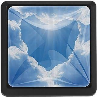 3 pomos para cajón diseño geométrico de azulejos de colores forma diagonal y triángulo diseño antiguo tiradores para a...