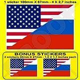 USA Vereinigte Staaten von Amerika und RUSSLAND, Amerikanisch und Russische Föderation Flagge, Fahne 100mm Auto & Motorrad Aufkleber, Vinyl Sticker x1+2 BONUS