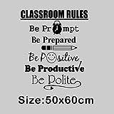 HFWYF Reglas del Aula Reglas de la Clase de inglés Decoración Tallada del Aula Etiqueta de la Pared 50x60cm,