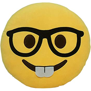 GCA Soft Emoji Smiley Emoticon Yellow Round Cushion Pillow Stuffed Plush Toy Doll (Nerd FACE)