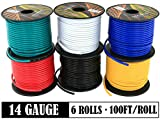 14 Gauge Flexible Copper Clad Aluminum Low Voltage Primary Wire 6 Color Set, 100ft roll (600 ft Total) for 12 Volt Automotive Trailer Harness Car Audio Video Wiring