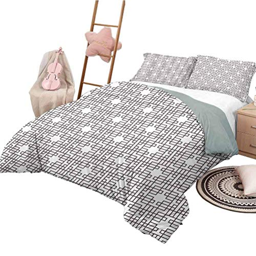 Coverlet Set Geometric Girls Duvet Cover Set Grid Style Pattern with Geometrical Squares and Rectangles Print Umber White California King Size