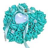 Moonvvin, cuscino per fedi nuziali, a forma di cuore, scatola di anelli di simulazione, rosa, gioielli per feste, decorazioni fai da te 17*16*7CM/6.7*6.3*2.76inch Blu