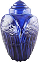 M MEILINXU Unique Funeral Urns for Adults Ashes, Cremation Urn for Human Ashes Large - Memorials Urns for Ashes - Display Burial Urn at Home or in Niche at Columbarium (Angels Have Wings - Oily Blue