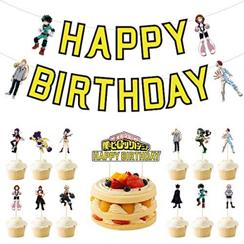 ZSWQ 14 Pack My Hero Academia Cake Toppers Accessori per Feste di Compleanno 1 Striscione 1 Grande Cake Topper 12 Cupcake Topper per Decorazioni Fai da Te per Feste Anime per Tifosi MHA