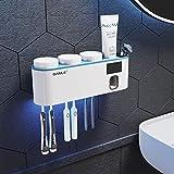 Totovy Intelligente Multifunktions Badezimmer Wand-Sterilisator Zahnbürste UV-Sterilisation Elektrische Wand-Zahnpasta Squeeze Red Zahnbürste Cup-Aufbewahrungsbehälter-Rack Kostenlosen Punching