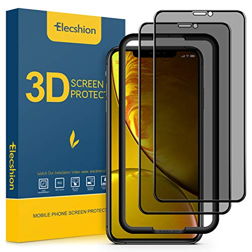 (2-Pack) Privacy Screen Protector for iPhone 11 and iPhone XR (Full-Coverage),Elecshion Anti-spy Tempered Glass Screen Protector for iPhone 11/XR(6.1 ''), Bubble Free, (Case Friendly)