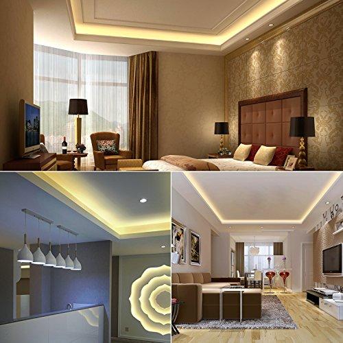 GuoTonG 16.4ft LED Strip Light, 3000K Warm White 5m Dimmable Tape Light, 12v Ribbon Light 2835 LEDs Flexible Strip Lighting for Under Cabinet, Home, Kichen, Bedroom, Non-Waterproof
