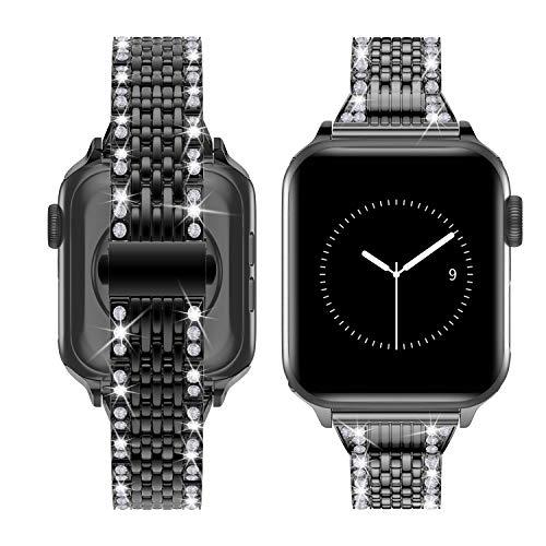TOWOND Correa Compatible con Apple Watch Band 42mm 44mm, Versión Mejorada Correa de Metal de Acero Inoxidable Desmontaje Rápido Pulsera de Repuesto para la Serie 6 SE 5 4 3 2 1 Negro, 42/44mm