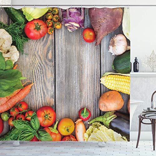 N\A Food Duschvorhang, Verschiedene Gemüse auf einem Holztisch Karotte Mais Gurke Kohl Landwirtschaft Thema, Stoff Stoff Bad Dekor Dekor mit Haken, rot gelb
