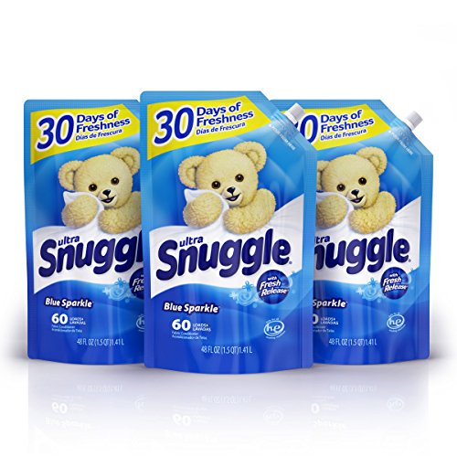 Snuggle Liquid Fabric Softener Easy-Pouch, Blue Sparkle, 48 Oz, 3Count, 180 Total Loads, 48 Fl Oz (Pack of 3)