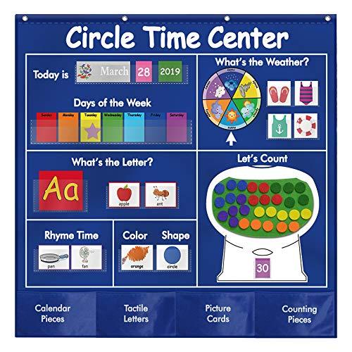 Sisenny Circle Time Center Pocket Chart Calendar, Educational Pocket Chart Learning Shape, Color Classroom Pocket Chart-Number Pocket Chart Wording Rhyme Pictures Pocket Chart