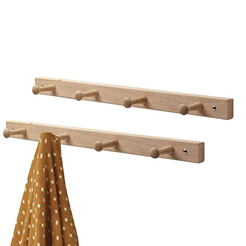 mDesign Set of 2 Wooden Peg Rail – Coat Rail with 4 Coat Hooks for Jackets, Dressing Gowns, Scarves and Towels – Wall Mounted Coat Rack – Natural