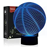 Bedoo 3D Night Lights for Boys Cool 16 Color Changing Lighting, Basketball Theme Lamp Touch USB Charge Table Desk Bedroom Decoration